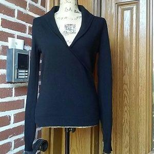 Sisley Black Wool Blend Shawl Collar Sweater